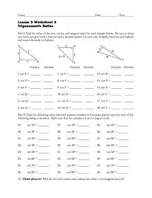 Fillable Online fengerhighschool Lesson 2 Worksheet 2 Trigonometric ...