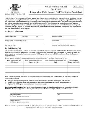 Office of Financial Aid Form 15V3I 20142015 Independent - holmescc