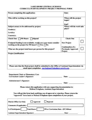 Fillable curriculum development proposal - Edit Online