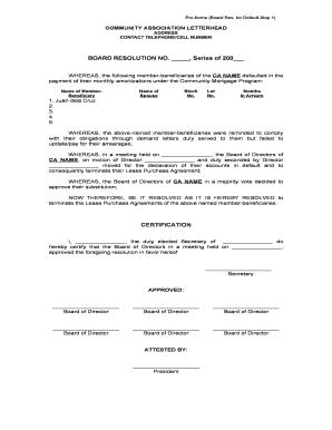 Board Resolution Sample Letter from www.pdffiller.com