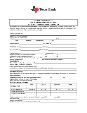 fillable online texas bank financial application for employment an