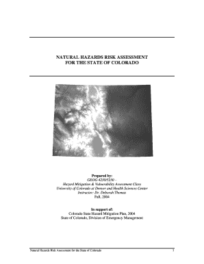 Natural hazards risk assessment for the state of colorado
