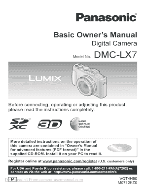 Panasonic Lumix DMC-LX7 Digital camera User Guide Manuals Panasonic Lumix DMC-LX7 Digital camera User Guide Manuals