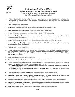 Texas 130 U >> Printable Texas Motor Vehicle Transfer Notification Form 130 U
