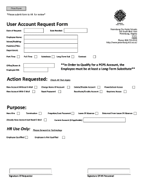 Leave of absence request form template edit fill print user account request form petersburg schools pronofoot35fo Image collections