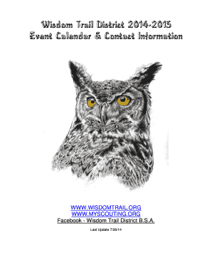 Wisdom Trail District b2014b-2015 Event Calendar amp Contact Information
