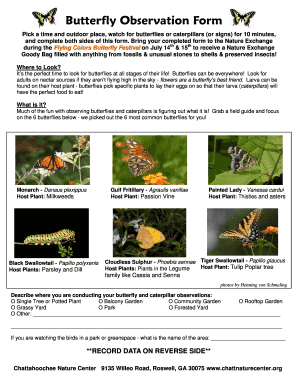 Butterfly Observation Form - Chattahoochee Nature Center