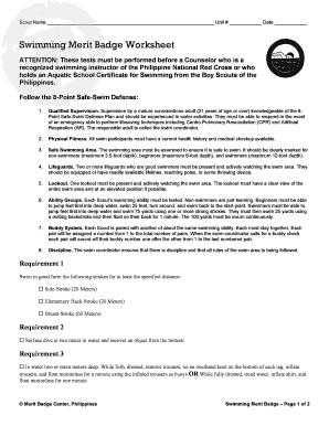 Fillable Online mbcenter Swimming Merit Badge Worksheet - mbcenter ...