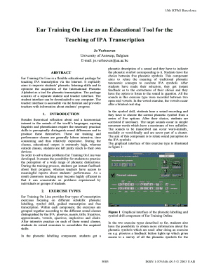 Ear Training On Line as an Educational Tool for the Teaching of IPA Transcription 15th ICPhS