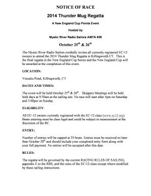 Fillable Online ec12 NOTICE OF RACE 2014 Thunder Mug Regatta A New