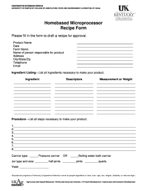 Homebased Microprocessor Recipe Form - fcs-hes ca uky
