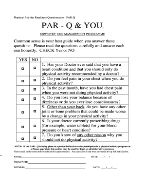 Physical Activity Readiness Questionnaire PARQ PAR Q &amp - rjah nhs