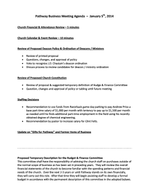 church meeting agenda template