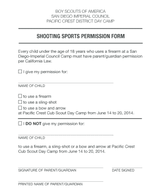 Pc Csdc shooting sports perm form - pacificcrest sdicbsa