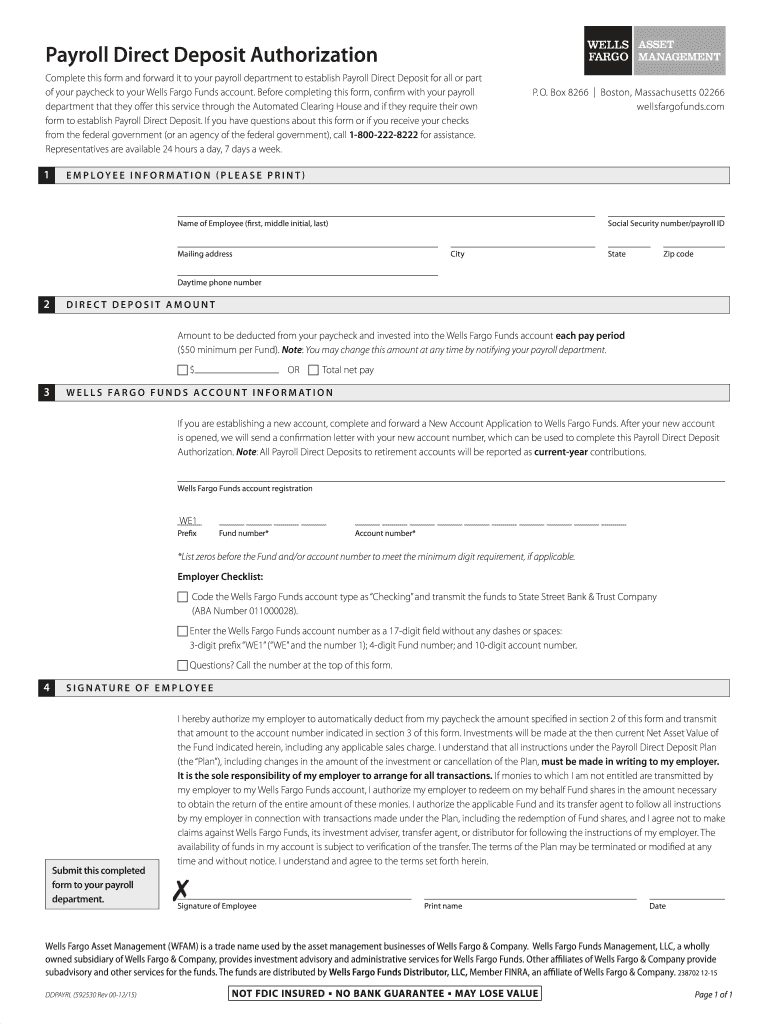 deposit form wells fargo  15-15 Form Wells Fargo DDPAYRL Fill Online, Printable ...