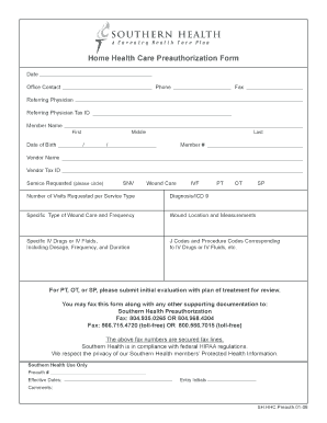Editable free home health care forms - Fill Out, Print & Download