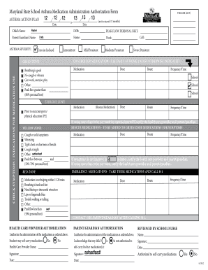 Maryland State School Asthma Medication Administration Authorization Form  12 Asthma Action Plan Childs Name: 12