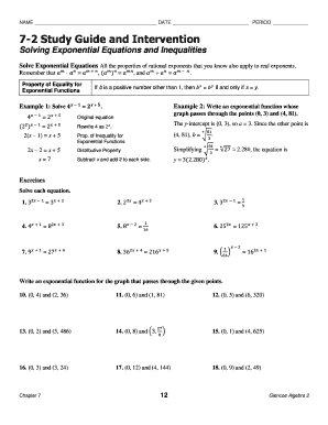 7 2 study guide and intervention solving exponential equations and rh pdffiller com 10 2 study guide and intervention operations with radical expressions answers 10 2 study guide and intervention answer key