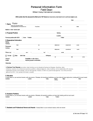 field dean personal information form field dean william carey international university wciu prefers that this document be filled out in pdf format and