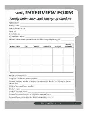 family interview form for babysitting fill online printable