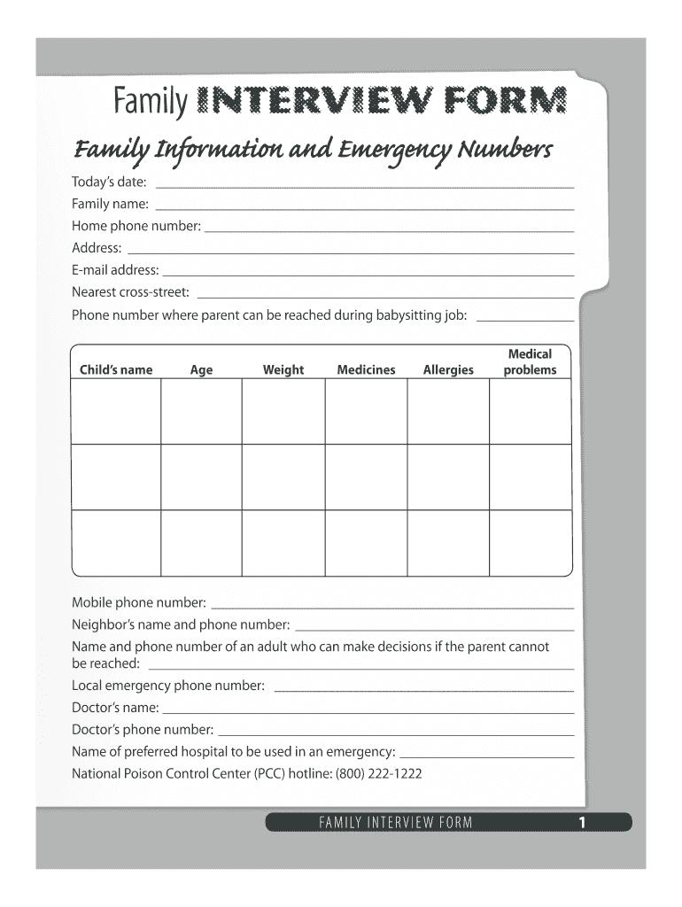 Family Interview Form For Babysitting Fill Online Printable Fillable Blank Pdffiller