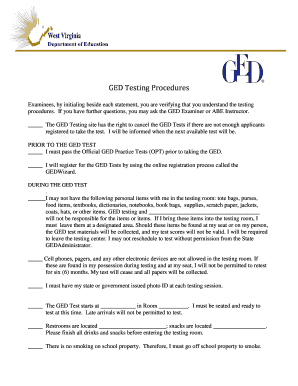 GED Testing Procedures - statick12wvus - static k12 wv