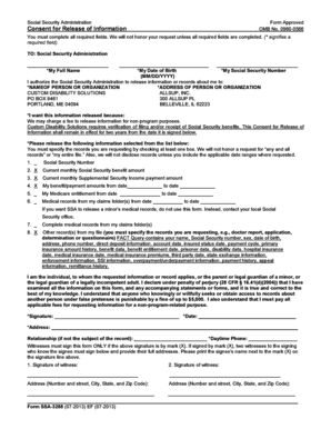Social Security Administration Form Approved Consent