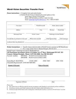 Fillable Online worldvision World Vision Securities Transfer Form