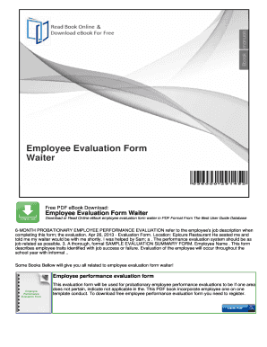 Employee Evaluation Form Waiter -