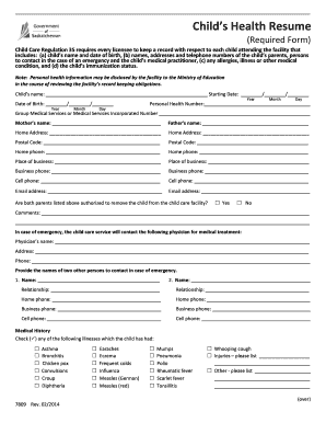 fill up form of resume