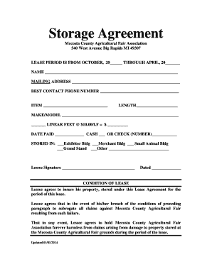 16 Printable Free Storage Agreement Form Templates Fillable