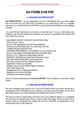 Fillable Online jansbooks DA FORM 3749. DA FORM 3749 Fax Email ...