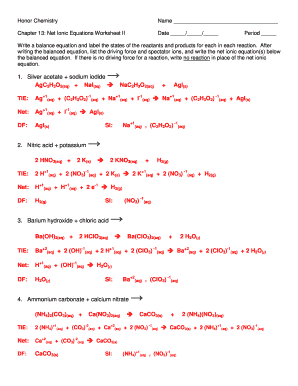 Fillable Online Honor Chemistry Name Chapter 13 Net Ionic ...