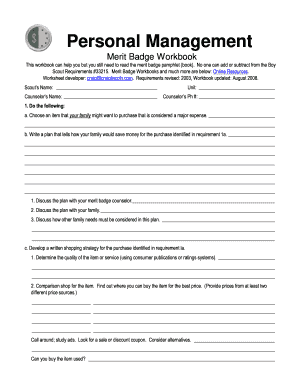 Boy Scout Personal Management Merit Badge Worksheet - Switchconf