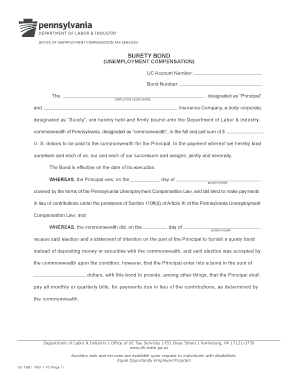 Fillable online surety bond pa gov fax email print for Suretyship agreement template