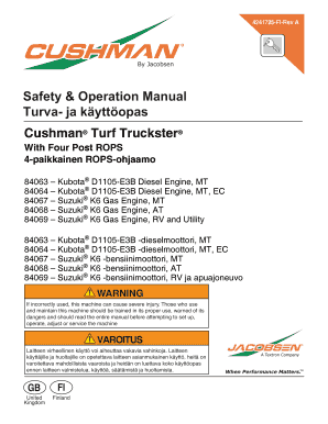 Fillable Online Safety Operation Manual Turva- ja kyttopas