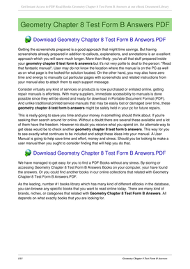 Geometry Chapter 8 Form B Test Answers - Fill Online, Printable ...