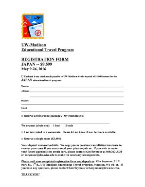 UW-Madison Educational Travel Program REGISTRATION FORM - continuingstudies wisc