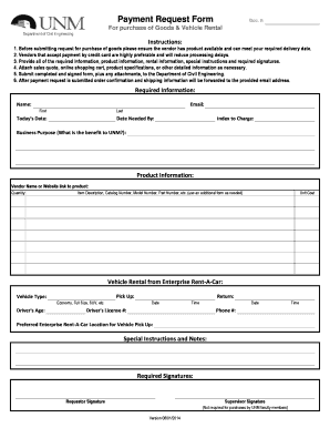 payment request form template excel