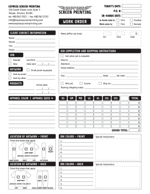 Fillable Online Express Screen Printing Work Order Form Fax Email ...