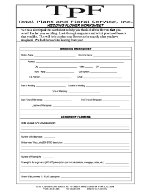 Fillable Free Wedding Flower Order Form Template Edit Online