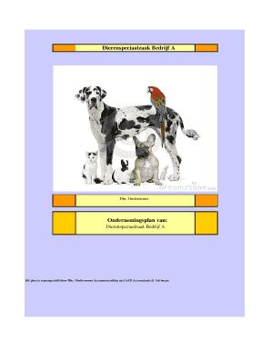 ondernemingsplan dierenwinkel Fillable Online mkbbedrijvensupport Ondernemersplan demo  ondernemingsplan dierenwinkel