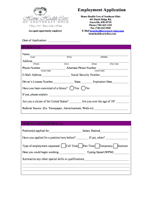 editable home health care employment application template fill out
