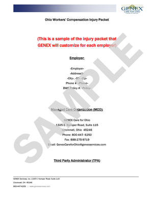 Ohio Workers Compensation Injury Packet SAMPLE