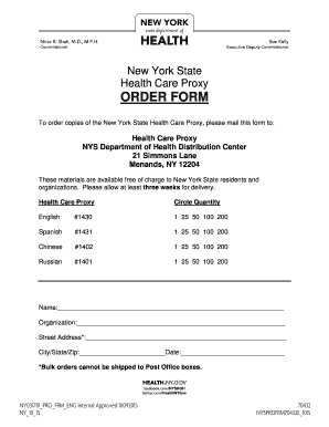 New York State Health Care Proxy ORDER FORM   WellCare