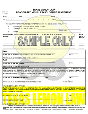 Texas Lemon Law >> Lemon Law Texas Fill Online Printable Fillable Blank