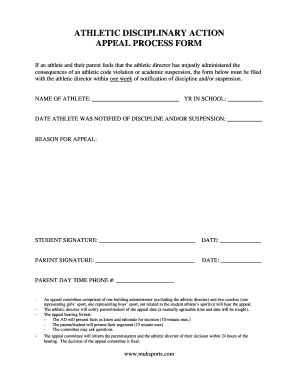 Athletic disciplinary action appeal process form fill online preview of sample notification altavistaventures Image collections