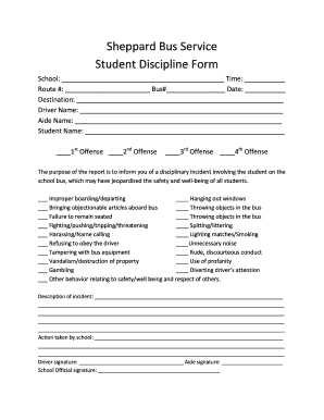 printable student discipline form edit fill out download form