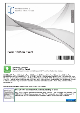 Form 1065 In Excel - nocReadCom