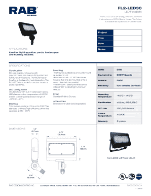 Fillable Online rabdesign FL2-LED30 - RAB Design Lighting Inc Fax ...